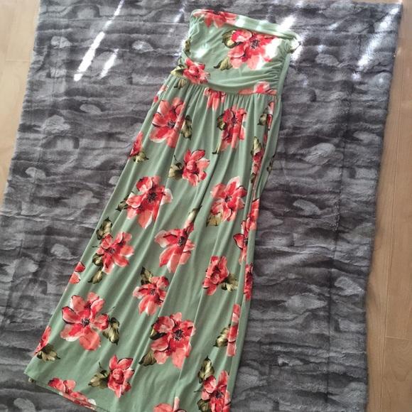 Dresses Strapless Sage Green Floral Maternity Maxi Dress Poshmark